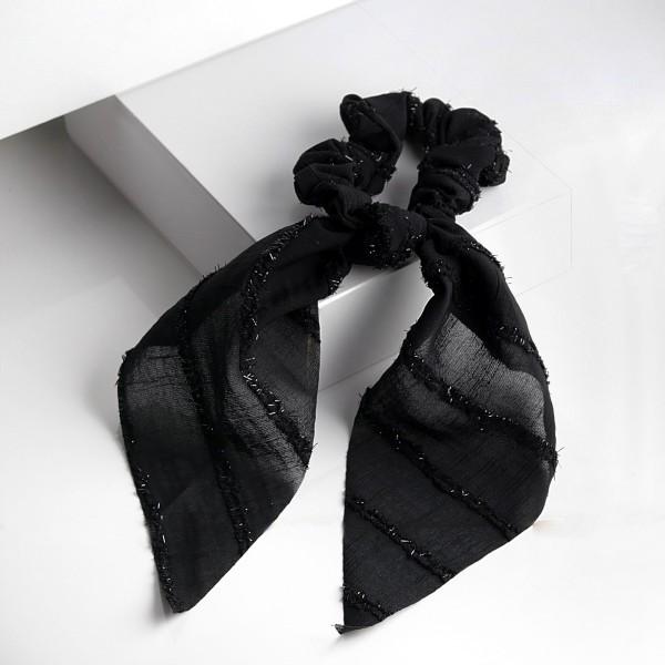 PARSA Beauty Scrunchie in schwarz mit schimmerndem Lurex und Tuchdetail