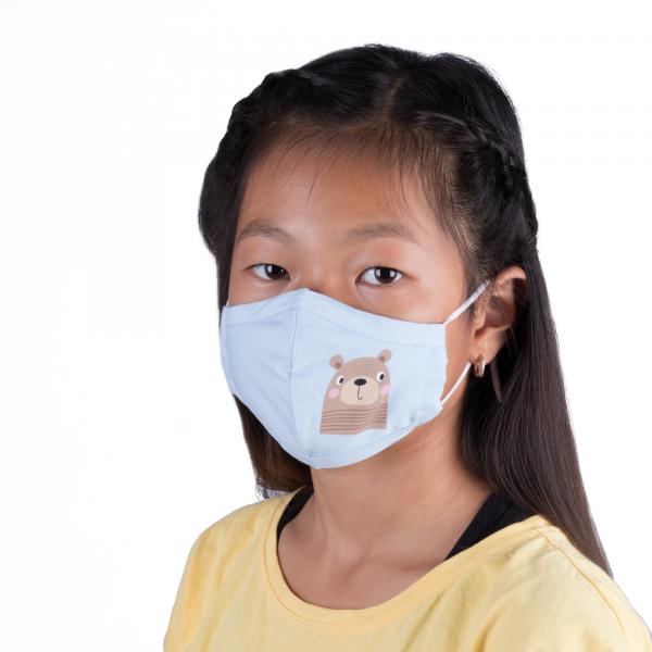 PARSA Beauty Waschbare Mund- und Nasenmaske Kind Blau Bär
