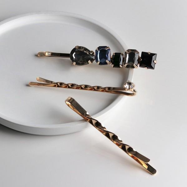 PARSA Beauty Haarklemmen in gold mit glamourösen Schmuckstein- Elementen
