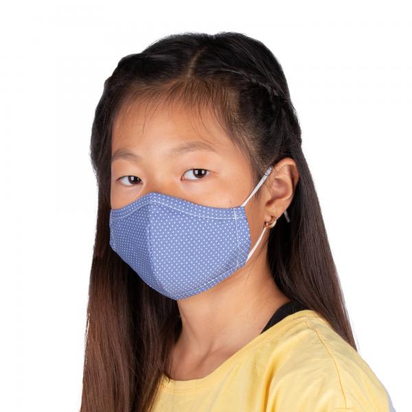 PARSA Beauty Waschbare Mund- und Nasenmaske Kind Blau Punkte