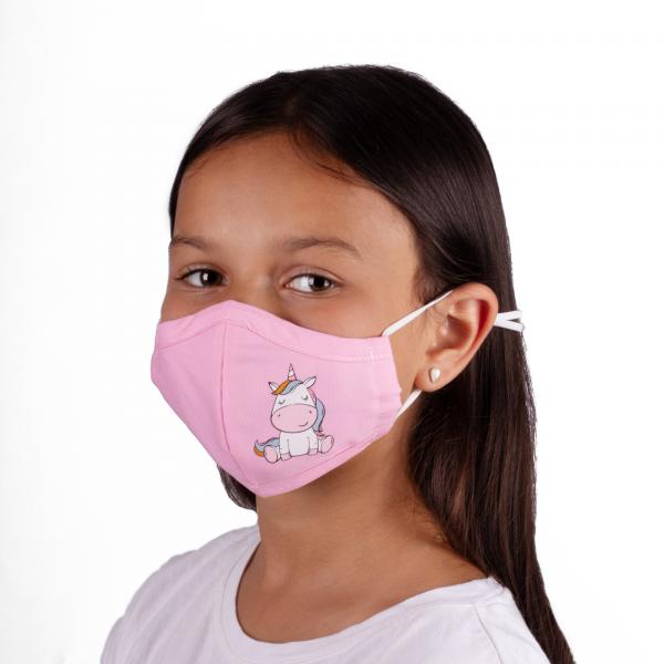PARSA Beauty Waschbare Mund- und Nasenmaske Kind Rosa Einhorn