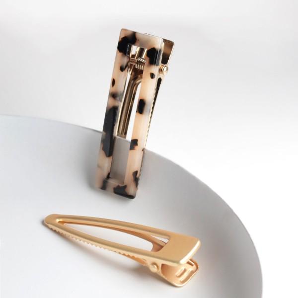 PARSA Beauty Haarclip-Kombination in gold und Leomuster