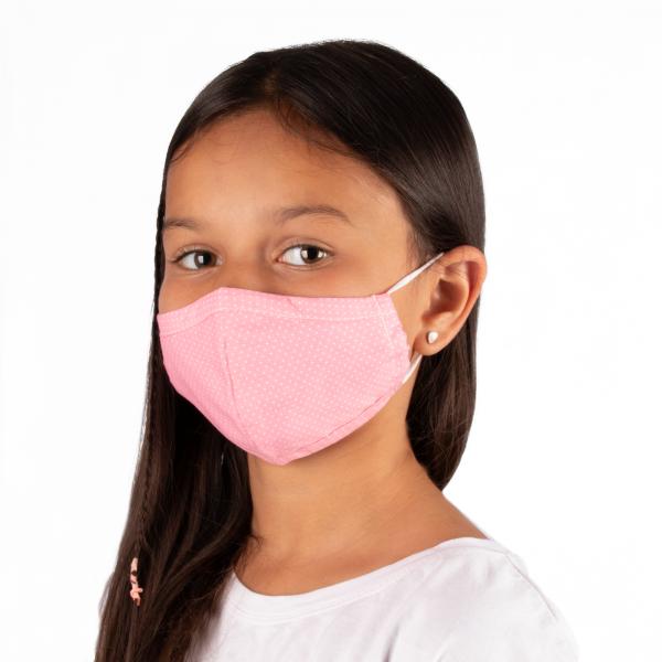 PARSA Beauty Waschbare Mund- und Nasenmaske Kind Rosa Punkte