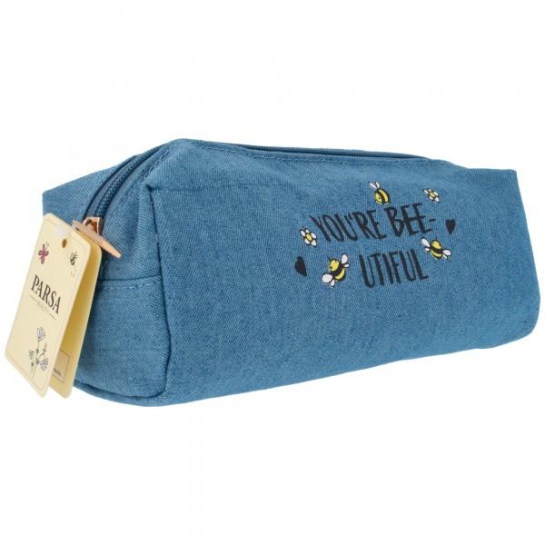 PARSA Beauty Kosmetiktasche Jeans Blumenwiese