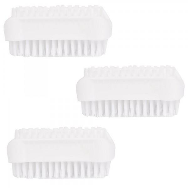 PARSA Beauty Handwaschbürste, doppelseitige Nagelbürsten im 3er Pack in weiss