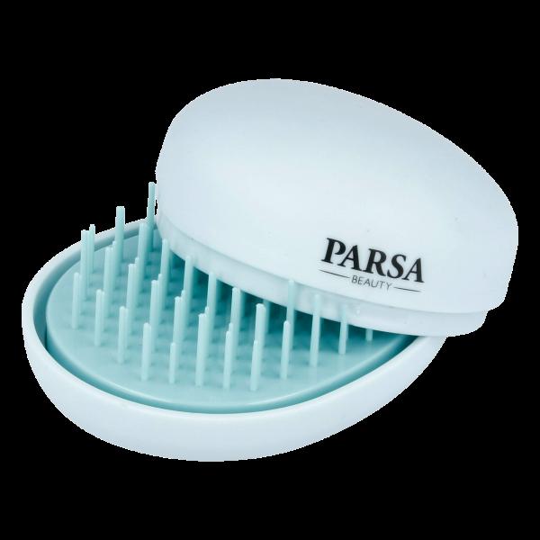 PARSA Beauty Pocket Detangler Entwirrbürste mit Spiegel 2in1 Mini Haar Entwirrer
