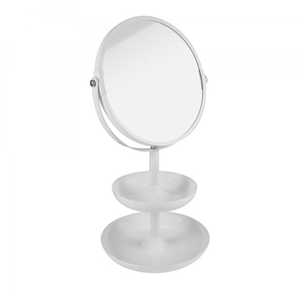 PARSA Beauty Standspiegel Etagere weiß matt Spiegel mit 3-fach Vergrößerung und zwei Ablageschalen